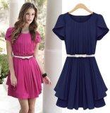 New Arrival Sunmmer Fashion Chiffon Dress with Belt (FS5828)