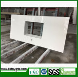 Solid White Kitchen Quartz Countertops with Sink Cut-out