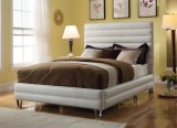 Modern PVC Leather Bedroom Furniture Hotel White Bed