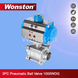 3PC Stainless Steel Ball Valve with ISO Direct Mounting Pad 1000wog with Actuator