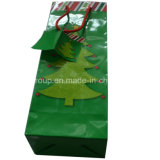 High Quality Single Bottle Christmas Paper Wine Bag