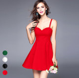 Factory Hot Sale Sexy Backless Slim Tube Plain Short Lady′s Dress