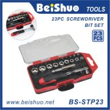 23-PCS Drive Socket & Screwdriver Bit Set with Ratchet