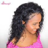 Natural Hairline Black Loose Curly Virgin Human Hair Full Lace Wigs with Baby Hair
