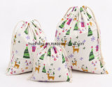 Eco Cotton Material Cotton Drawstring Pouch Christmas Xmas Gift Bag