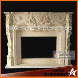 Beige Stone Sculpture Carving Natural Fireplace Surround
