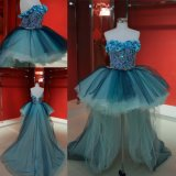 Wholesale Cheap Flowral High Low Blue Party Prom Dress 2018