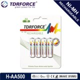 1.2V Rechargeable Low Self Discharge Nickel Metal Hydride China Fatory Battery (HR6-AA 500mAh)