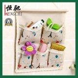 Linen/Cotton Fabric 5 Pockets Hanging Storage Bag Organizer