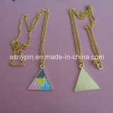 Promotional Colorful Triangle Shaped Gold Necklace with Embossed Customize Logo