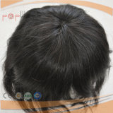 White Color Human Hair PU Back Lace Front Style Mens Toupee