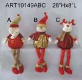 Sparkle Sequin Sitting Christmas Figure Holiday Decoration -3asst.