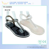 Simple Ladies Women Flat Clip Toe PVC Sandals with Rhinestone
