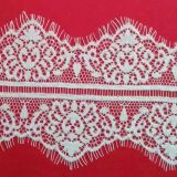 Pure White Lucky Flower Pattren Eyelash Lace with Wavy Edges by The Yard Wholesale