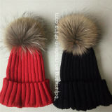 High Quality Winter Knit Hat with Raccoon Fur Ball on The Top