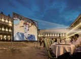 Fast Fold Projection Screen for Backyard Cinema