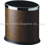 Double Layer Round Waste Bin Covered with Leatherette