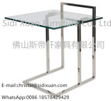 Stainless Steel Polished Clear Tempered Glass on Top Side End Table for Sofa Bedroom Furniture