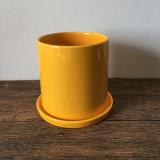 Glossy Yellow Round Modern Planter