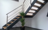 Wood Handrail Wall Mounted Rod Posts Stainless Steel Balustrade for Staircase
