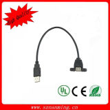 USB Cable Panel Mount Male to Female with Lock Screw