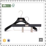 Luxury Hotel Wooden Coat / Suits Hanger with Flocking Pant Bar