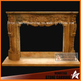 Yellow Natural Marble Stone Carving Fireplace Surround