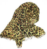 Leopard Print Long Scarf with Fringe