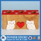 Wooden Christmas Candle Holder with Owl and Heart Design