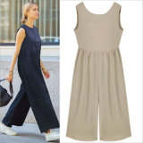 Fashion Sleeveless High-Waist Single Collar Palazzo Women Jumpsuits