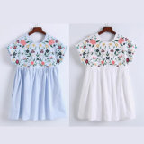 Fashion Women Leisure Casual Pleated Flower Embroidery T-Shirt Dress