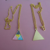 Stamped Triangle Colorful Enamelled Jewelry Charm Necklace Pendant Gold & Silver Tones