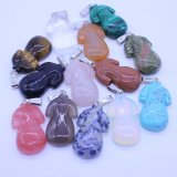 Assorted Natural Gemstone Carved Cheongsam Shape Pendant Charms
