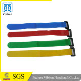 Customized Logo Print Cable Tie Strap Hook & Loop Wristband/Bracelet