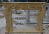 Hot Sunny Beige Outdoor Firepalce Mantel, Marble Fireplace
