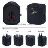 Universal Travel Adapter, 2 USB Output 2500mA with USA/UK/EUR/Aus Plug