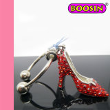 Sparkling Red High Heel Shoes Wine Charm Bangle with Rhinestones