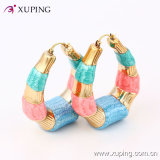 Popular Fashion Simple 18k Gold-Plated Colorful Imitation Jewelry Hoop Earring - 91324