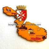 Metal Souvenir Fridge Magnet. Map of Malta