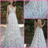 A-Line Bridal Formal Gowns Flowers Pearls Wedding Dresses A60