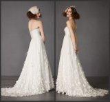 Strapless Chiffon Bridal Gown Empire Waist Beach Wedding Dress Lh2016