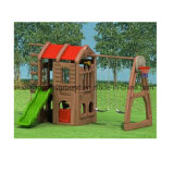 Kids Outdoor Playground Plastic Playhouse with Slide and Swing
