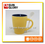 Two-Tone Porcelain Mug with Spoon of Chb003