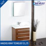 Modern Melamine Floor Standing Teak Bathroom Furniture with Mirror