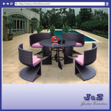Flat Wicker Alum Table Arm Chair Patio Outdoor Garden Furniture (J322)