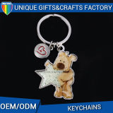 Customized Lovely Cartoon Bear Metal Keychain with Color Filled