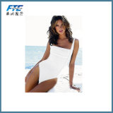White One-Piece High Quality Polyester Women Swimsuit