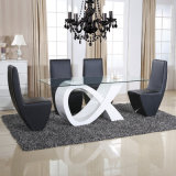 Modern Chinese Home Glass Metal Dining Room Furniture (ET03 & EC59)