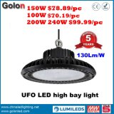 Interior Warehouse Factory Workshop Stadium Exhibition Supermarket Station Shopping Mall 200W Highbay Lamp 130lm/W 60W 100W 150W UFO LED High Bay Light