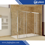 6-12mm Tempered/Acid Etch/Patterned Stainless Steel Sliding Glass Shower Door